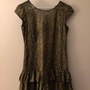 Cynthia steffe metallic ruffle dress Sz 0